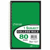Top Flight College Rule 1-Subject Notebook - 80 Sheets - Assorted