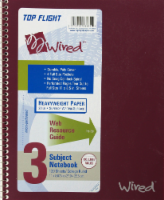 Top Flight Wired College-Ruled 3-Subject Notebook - Assorted