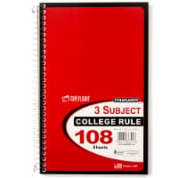 Top Flight College Rule 3-Subject Notebook - 108 Sheets - Assorted