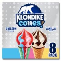 Klondike® Vanilla Chillin' & Unicorn Dreamin' Frozen Ice Cream Cones - 8 ct / 3.75 fl oz