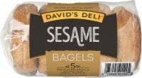 Davids Deli Sesame Bagels 5 Count