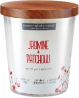 Candle-lite Essential Elements Jasmine and Patchouli Glass Jar Candle - White