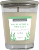 Candle-lite Essential Elements Eucalyptus and Mint Leaf Glass Jar Candle - White