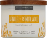 Candle-lite Essential Elements Vanilla & Sandalwood Jar Candle - Ivory