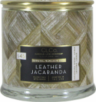 Candle-lite CLCo™ Leather Jacaranda Natural Wooden Wick Jar Candle - White - 14 Ounce