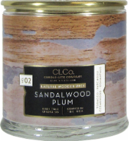 Candle-lite CLCo™ No. 02 Sandalwood Plum Natural Wooden Wick Glass Jar Candle - White