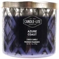 Candle-lite Azure Coast Scent 3-Wick Candle - Purple - 14 oz