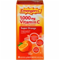 Emergen-C Super Orange Vitamin C Immune Supplement Fizzy Drink Mix Packets 1000mg 30 Count