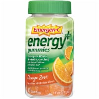 Emergen-C Energy Plus Orange Zest Natural Caffeine Dietary Supplement Gummies
