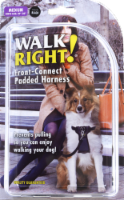 """Walk Right! Medium 20""""- 30"""" Black Front-Connect Padded Harness"""