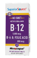 Superior Source No Shot B-12 with B-6 & Folic Acid Dissolving Tablets 5000mg - 60 ct