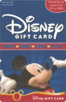 Disney $15-$500 Gift Card - After Pickup, visit us online to activate and add value
