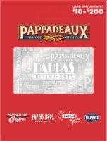 Pappas $10-$200 Gift Card - After Pickup, visit us online to activate and add value - $0.10 removed at checkout