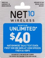 NET10 Wireless Unlimited $40 Phone Card