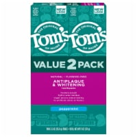 Tom's of Maine Peppermint Antiplaque & Whitening Fluoride-Free Natural toothpaste 2 Count