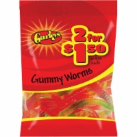 Gurley's Assorted Fruit Flavors 3 Oz. Gummy Worms 19071 Pack of 12 - 3 Oz.