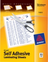 Avery Self Adhesive Laminating Sheets - 10 Pack - 9 x 12 in