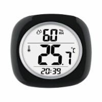 Taylor 6669386 Hygrometer, Temperature & Time Plastic Digital Thermometer, Black