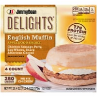 Jimmy Dean Delights Applewood Smoke Chicken Sausage and Egg Whites English Muffin Sandwiches 4 Count