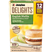 Jimmy Dean Delights Turkey Sausage Egg White & Cheese English Muffin Sandwiches 12 Count