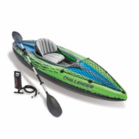 Intex Challenger K1 Inflatable Single Person Kayak Set and Accessory Kit w/ Pump - 1 Unit