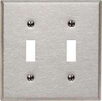 Leviton Silver 2 gang Stainless Steel Toggle Wall Plate 1 pk - Case Of: 1; Each Pack Qty: 1; - Count of: 1