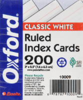 Oxford® Half-Size Ruled Index Cards - 200 Pack - White - 3 x 2.5 Inch - 3 x 2.5 Inch
