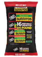 Tina's Red Hot Beef Burritos 16 Count