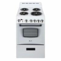 Avanti 20 Inch 2.1 Cu Ft Electric Single Kitchen Oven with 4 Burner Range, White