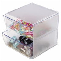 Deflecto Stackable Cube Organizer, 2 Drawers, 6 X 7 1/8 X 6, Clear 350101 - 1