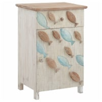 Powell Hays Fish Wood Storage Side End Table in Distressed White - 1