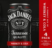 Jack Daniel's Whiskey and Cola - 4 cans / 12 fl oz