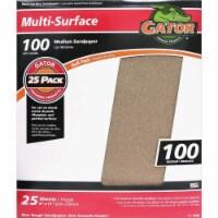 Gator Multi-Surface 9 In. x 11 In. 100 Grit Medium Sandpaper (25-Pack) 4209