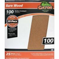 Gator Bare Wood 9 In. x 11 In. 100 Grit Medium Sandpaper (25-Pack) 4227