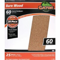 Gator Bare Wood 9 In. x 11 In. 60 Grit Coarse Sandpaper (25-Pack) 4229 - 1