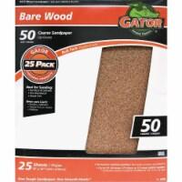 Gator Bare Wood 9 In. x 11 In. 50 Grit Coarse Sandpaper (25-Pack) 4230 - 1