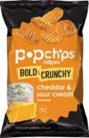 popchips Ridges Bold & Crunchy Cheddar & Sour Cream Popped Potato Snack
