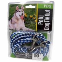 Boss Pet PDQ Blue / White Tie-Out Poly Dog Tie Out Rope Small/Medium - Case Of: 1; - Count of: 1