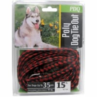 Boss Pet PDQ Red / Black Poly Dog Tie Out Rope Small/Medium - Case Of: 1; - Count of: 1