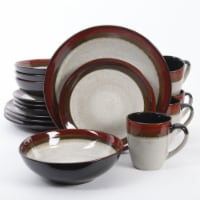 Gibson Couture 16 Piece Reactive Glazed Dinnerware Plates, Bowls, and Mugs, Red