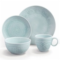 Gibson Elite 16 Piece Floral Glaze Dinnerware Set with Plates, Bowls, and Mugs - 1 Piece