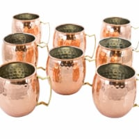 Gibson 94837.01 18 oz Elite Mule Mixer Hammered Brass Copper Cup Set - 8 Piece