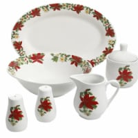 Gibson 99825.07R 7 Piece Poinsettia Porcelain Serving Set, Red