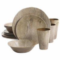 Gibson Home Woodlands 16 Piece Round Melamine Plate, Bowl, & Cup Dinnerware Set - 1 Piece