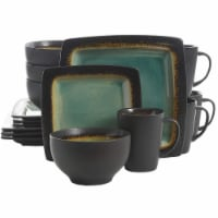 Gibson Elite Ocean Paradise 16Pc Square Glazed Dinnerware Kitchen Dish Set, Jade