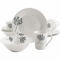 Gibson Netherwood 12 Piece Round Glaze Dinnerware Plates, Bowls, and Mugs, White - 1 Unit