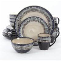 Gibson Elite Magello Glazed Stoneware 16-Piece Dinnerware Set, Blue and Brown - 1 Unit