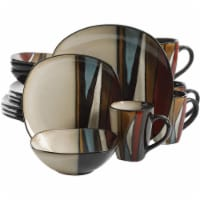 Gibson Elite 16 Piece Reactive Glaze Dinnerware Plates, Bowls, and Mugs, Red