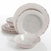 Gibson Studio California Mauna 12-Piece Durable Melamine Dinnerware Set, Ice