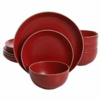 Gibson Rockaway 12 Piece Matte Glaze Stoneware Dinnerware Set, Plates and Bowls - 1 Piece